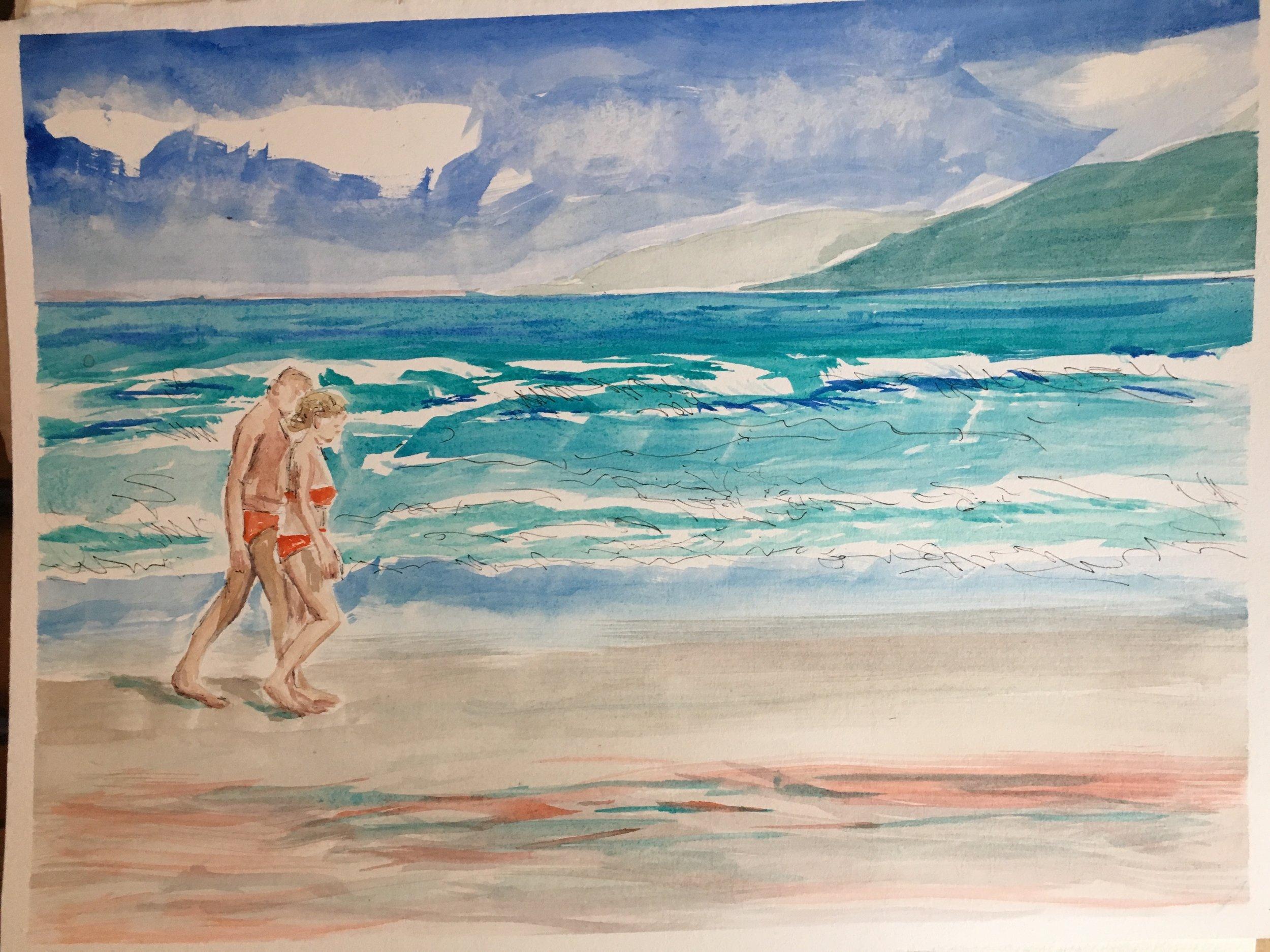 "A Morning Stroll  Hapuna Beach, Hawaii  11""x15"""