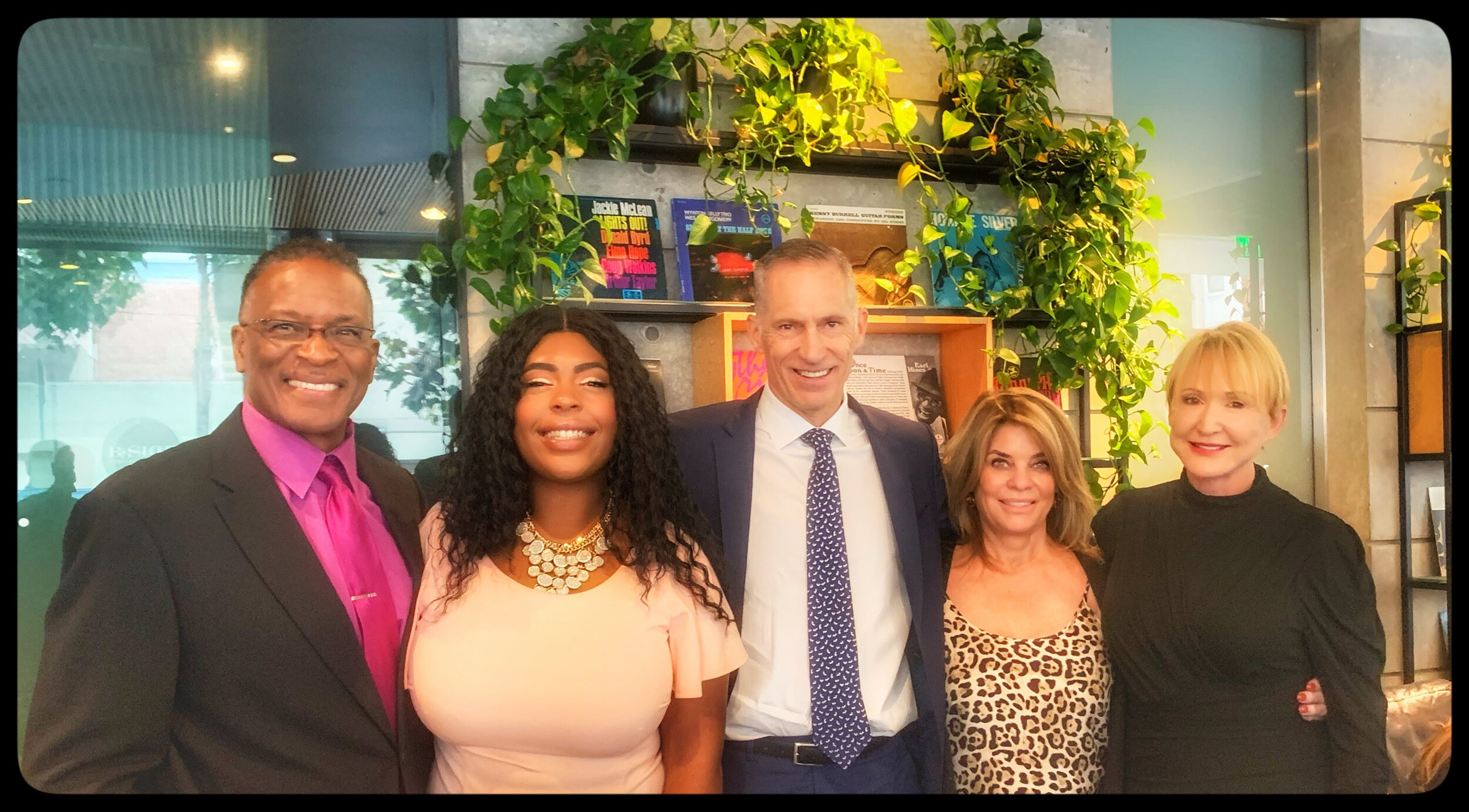 From left: Dave Clark, KTVU-TV anchor and In Concert with Caminar emcee; Shrtonay; Mark Cloutier, Caminar CEO; Carole Middleton, In Concert with Caminar Co-Chair and Caminar Board Member; Linda Leao, In Concert with Caminar Co-Chair and Caminar Board Member