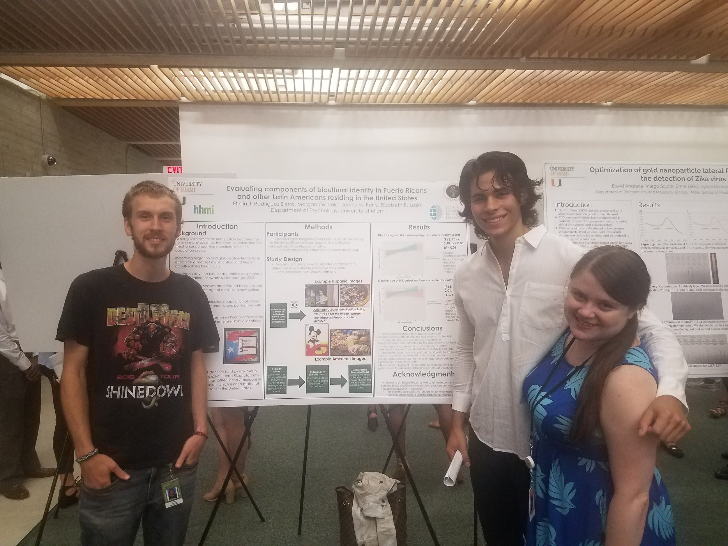 Throughout the summer, Efra was mentored by two senior lab members.  From left to right : Morgan Gianola, Efrain Rodriguez Sierra, Jenna Perry.