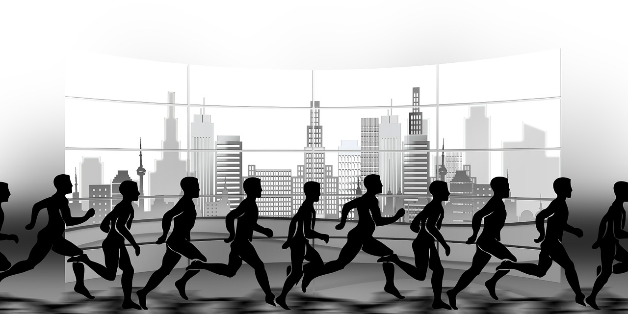 fitness at work - office workers running