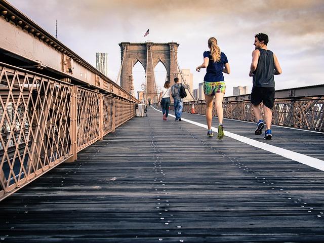 Couple running New York City
