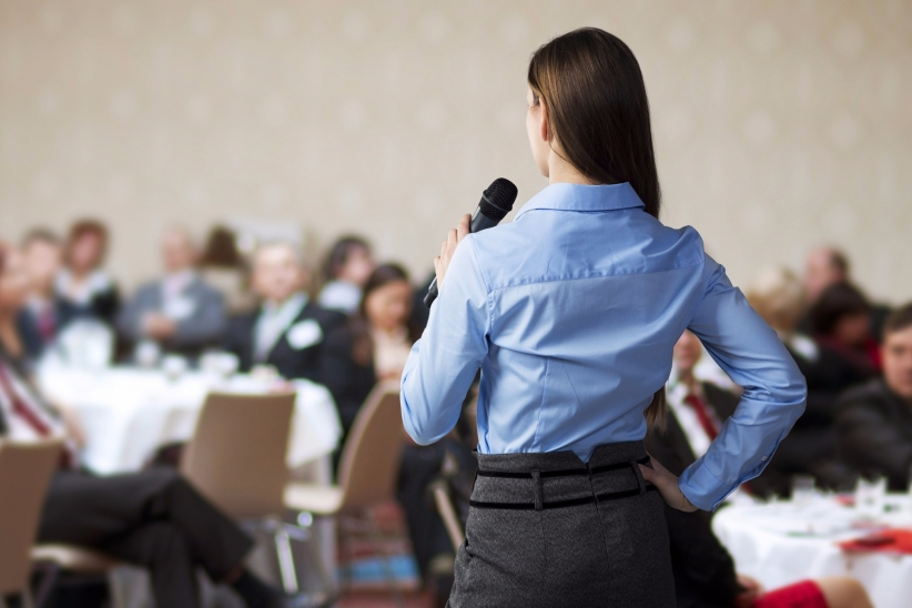 Confident Woman giving a presentation
