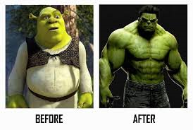 Before and after photos of Shrek and Hulk