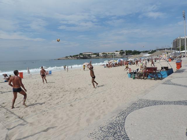 Beach volleyball on Copacabana beach in Brazil