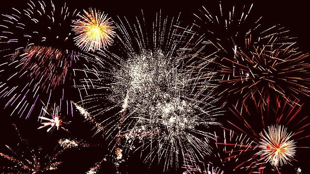 New years eve fireworks on Copacabana beach