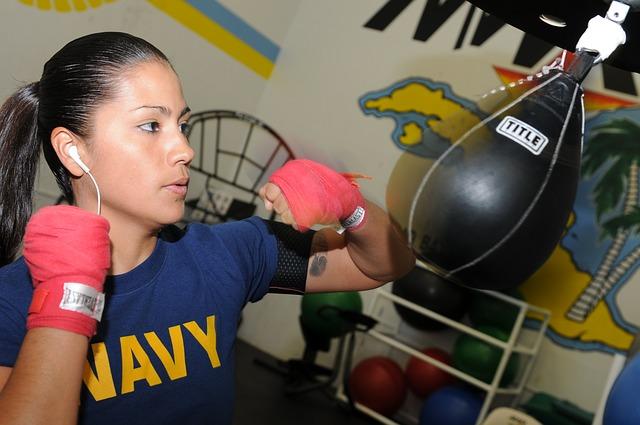 Woman boxing MMA