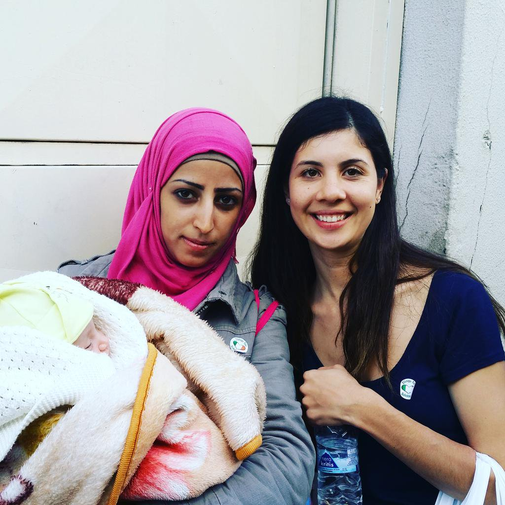 Baby Lara from Syria receives a sling last year