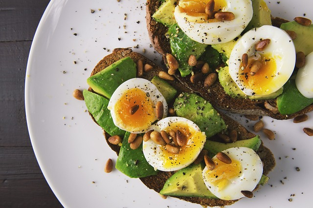 breakfast eggs and avocado as part of daily morning routine