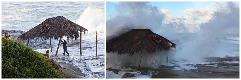 Man tries to brace shack after it's 3rd day of being slammed by the monster waves caused by El Nino.