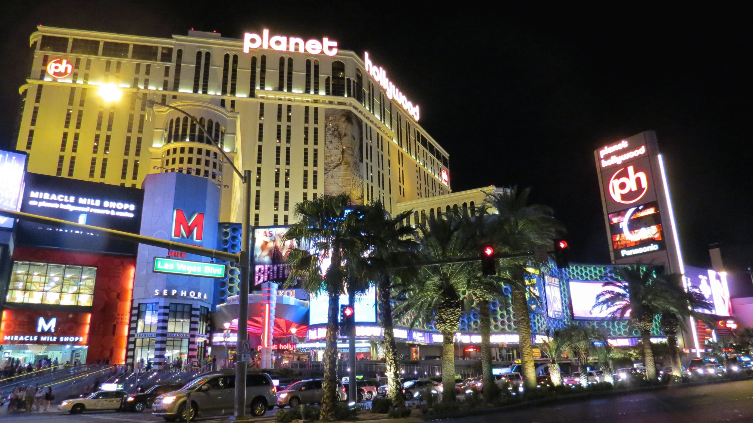 The sensational Planet Hollywood Resort & Casino, right on the Las Vegas strip. So many lights!