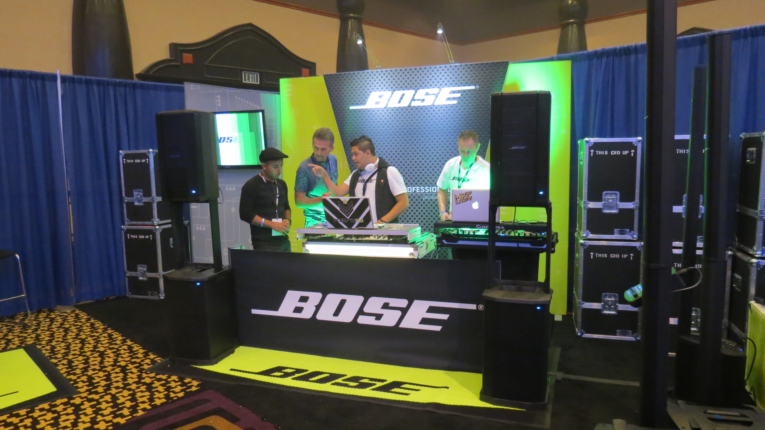DJs checking out the latest gear from LVDJS sponsor, Bose.