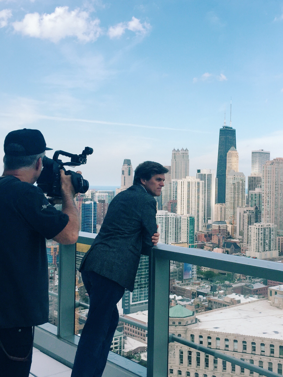 James Gustin filming Timothy Shriver in Chicago