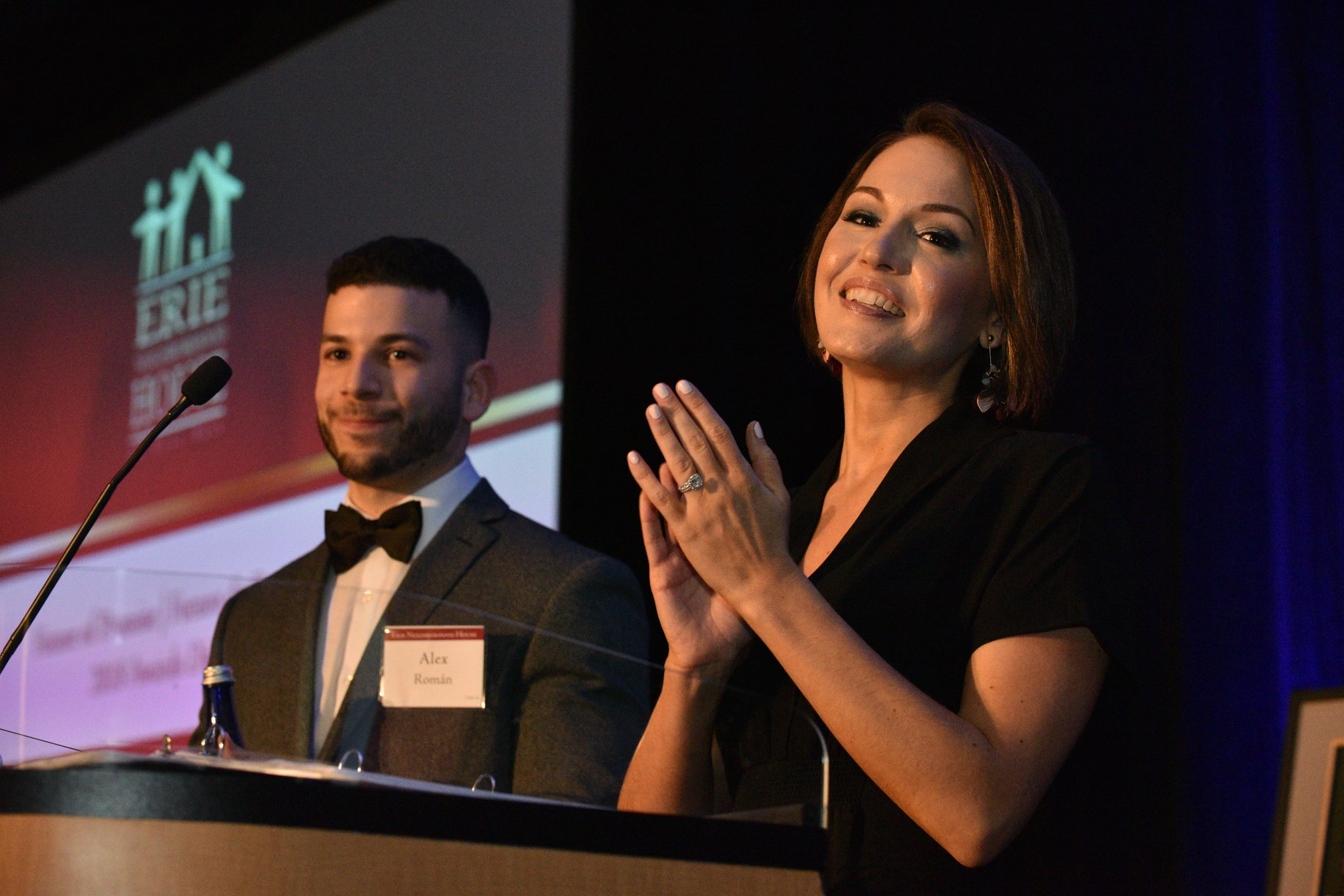 Alex Roman and Executive Director Kirstin Chernowsky at the Future of Promise Awards Dinner.