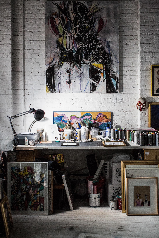 Artist studio desk.