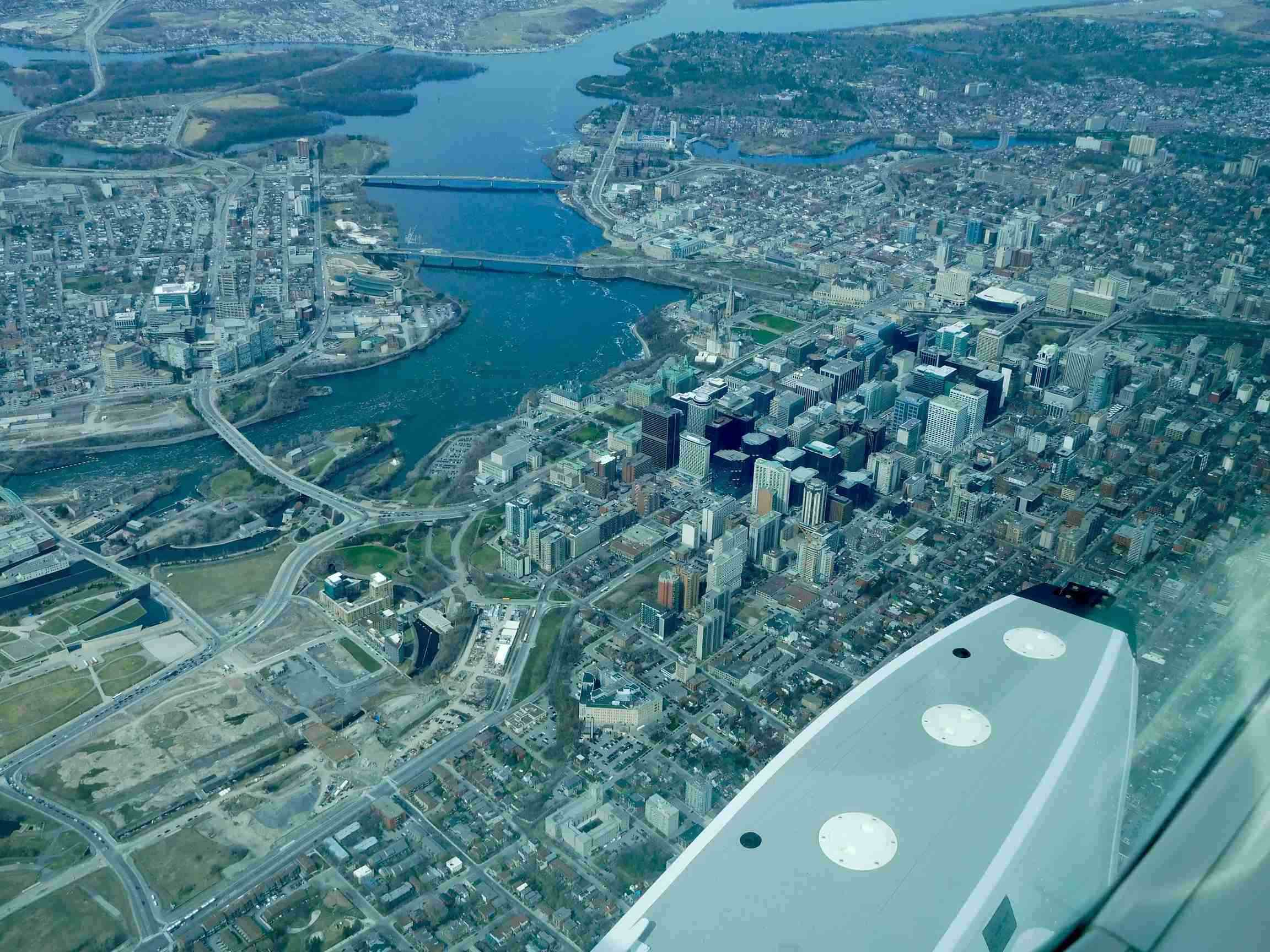 Approaching Ottawa Airport over the city and the St Lawrence River
