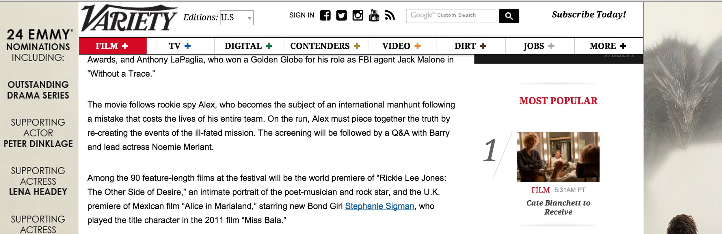 Rickie Lee Jones: The Other Side of Desire mentioned in Variety.
