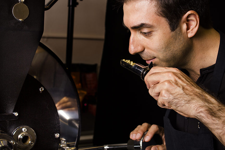 Roasting coffee, one of the most passionately involving cooking activities in Lebanese cuisine.