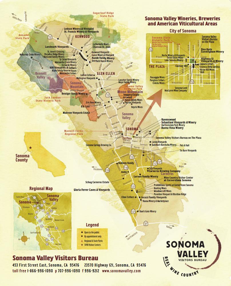 Sonoma Wine Map  (image courtesy of bestinsonoma.com)