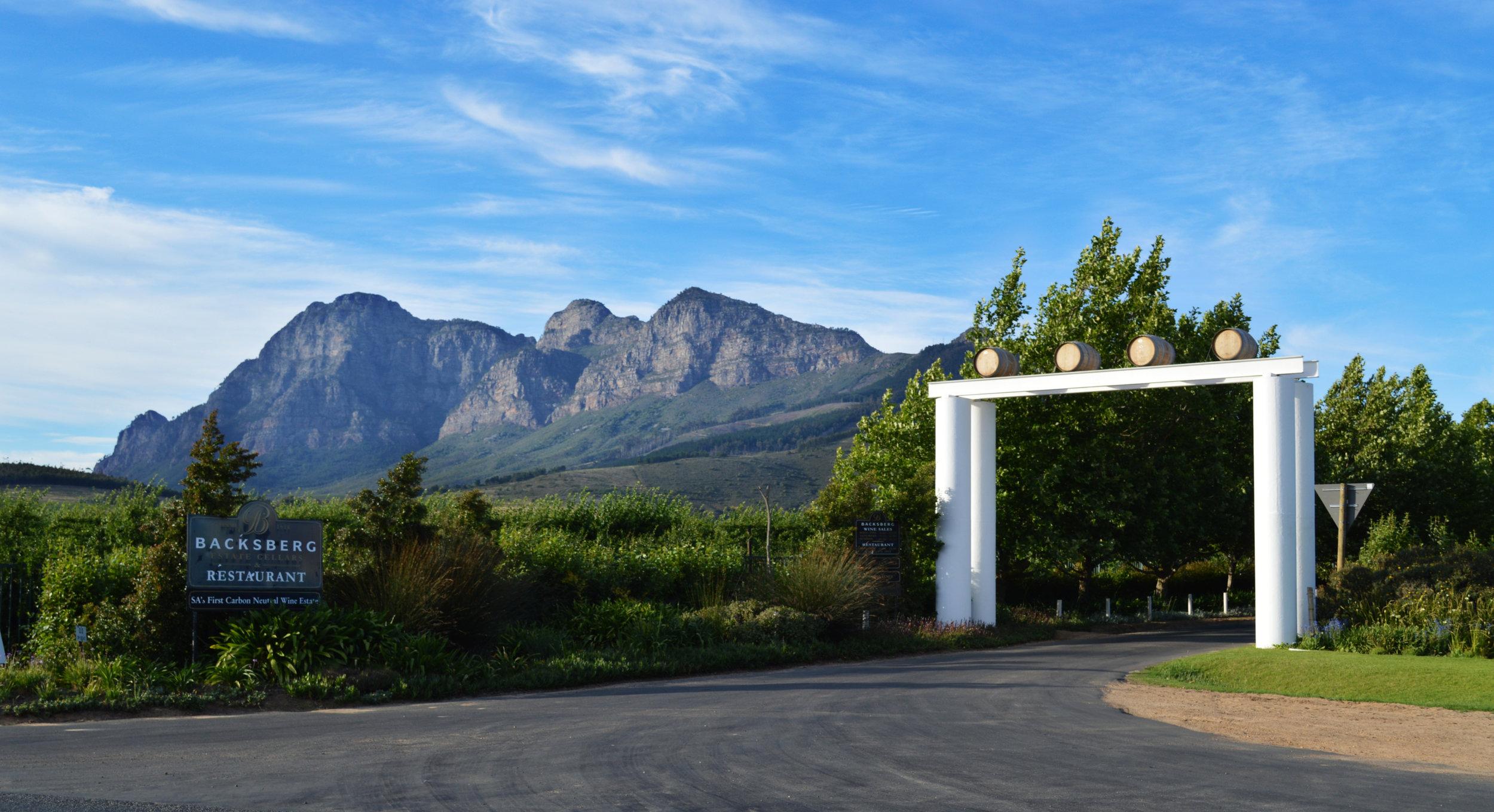 Entrance to Backsberg Cellars, South Africa. Image courtesy of Backsberg Cellars.