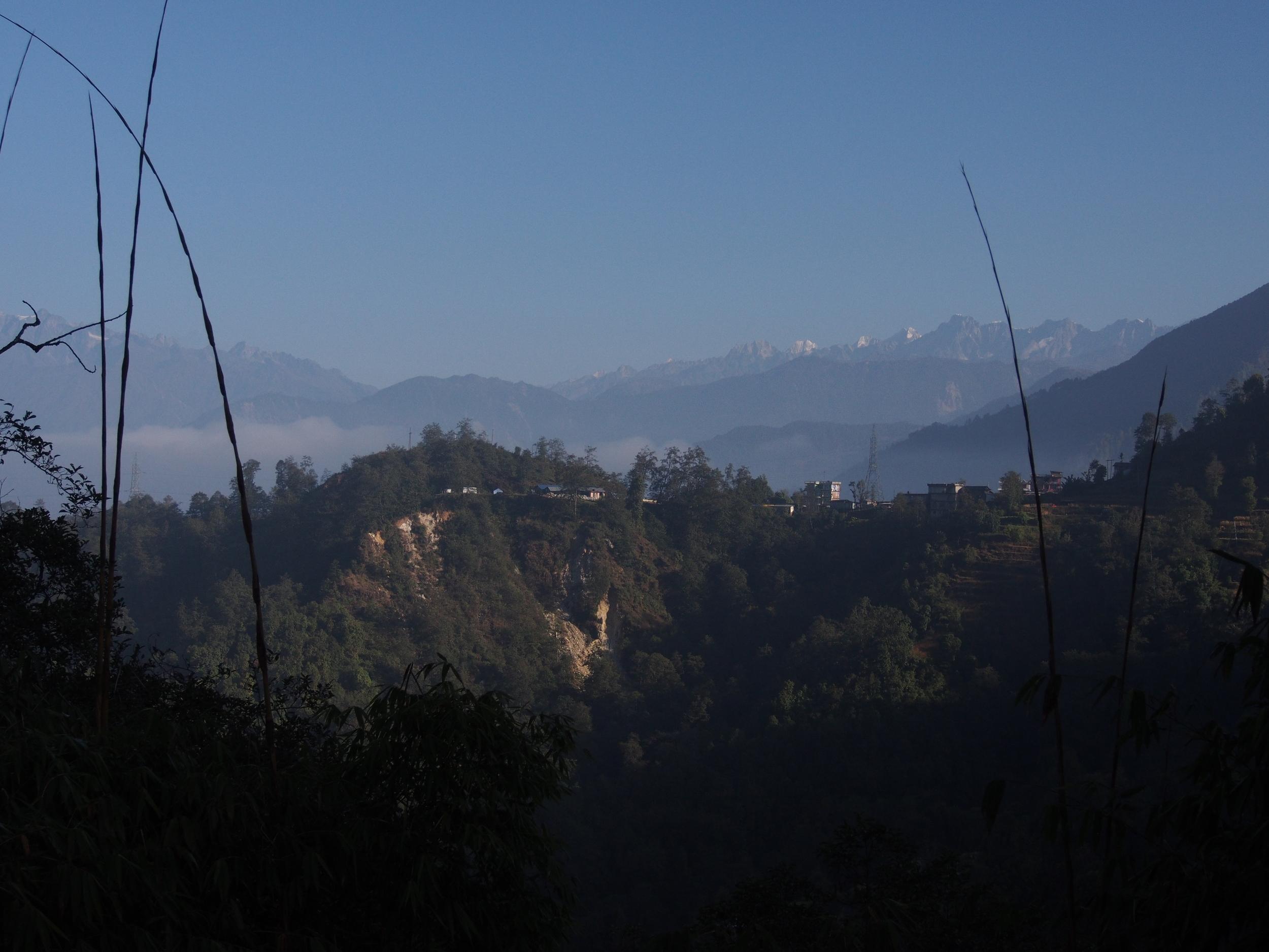 View of the high Himalaya as we began ascending the dirt road