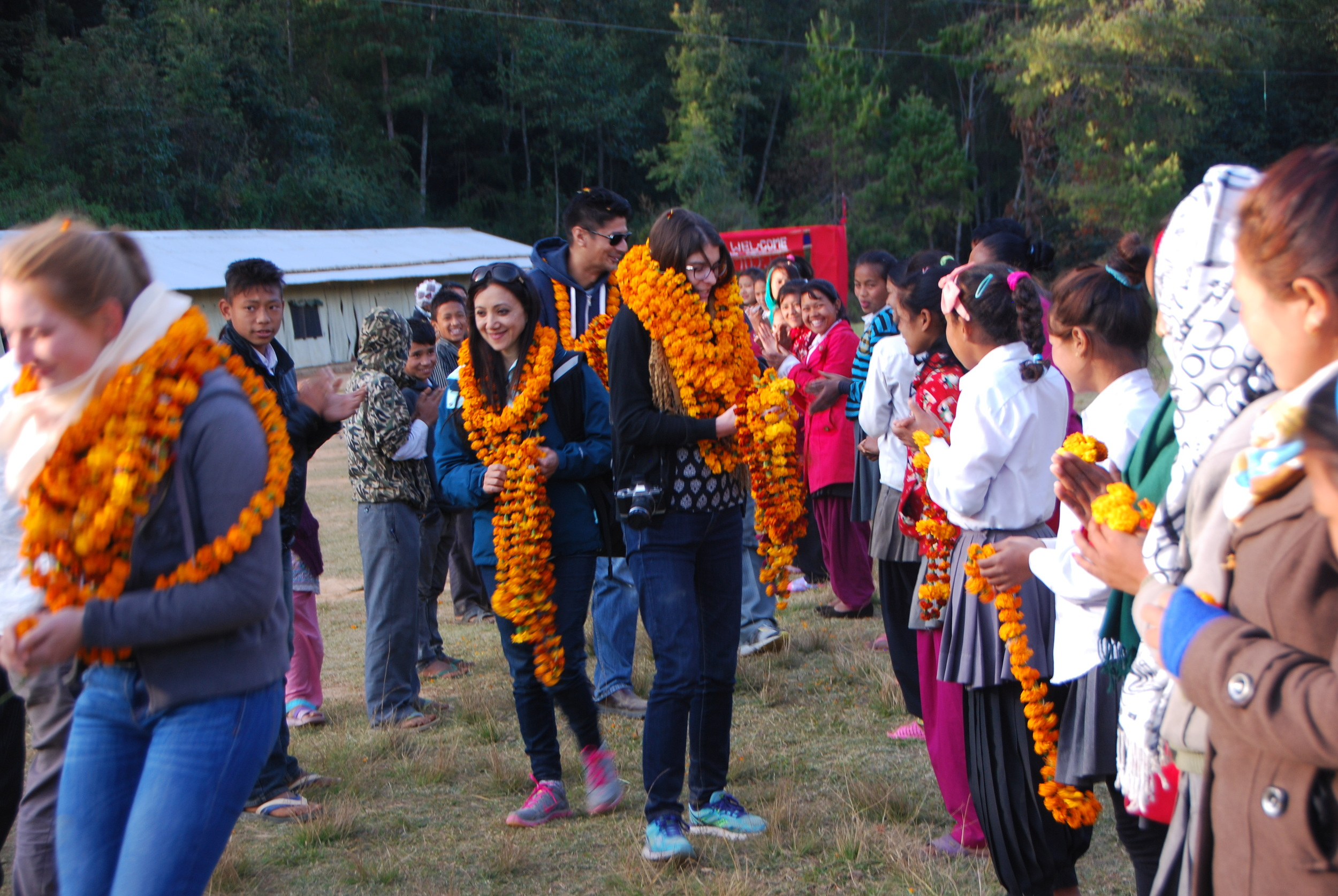 The welcoming garland ceremony