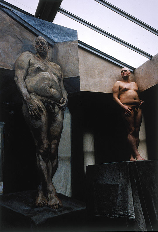 """Leigh Bowery posing for the 1994 """"Leigh Under a Skylight"""""""