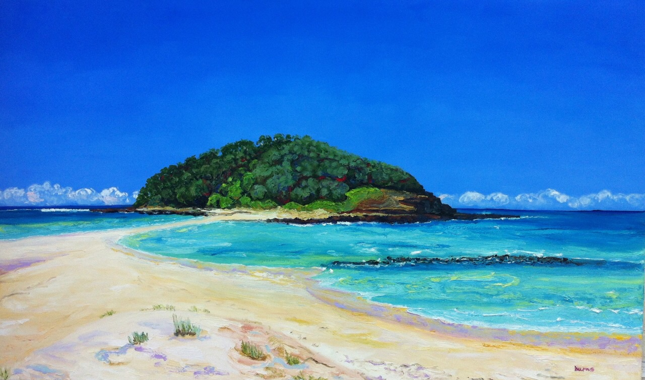 Stephanie Burns Crampton Island, Lake Tabourie 2015  Oil on canvas  61 x 92 cm