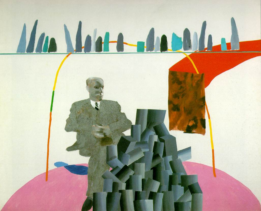 Portrait Surrounded by Artistic Devices, David Hockney