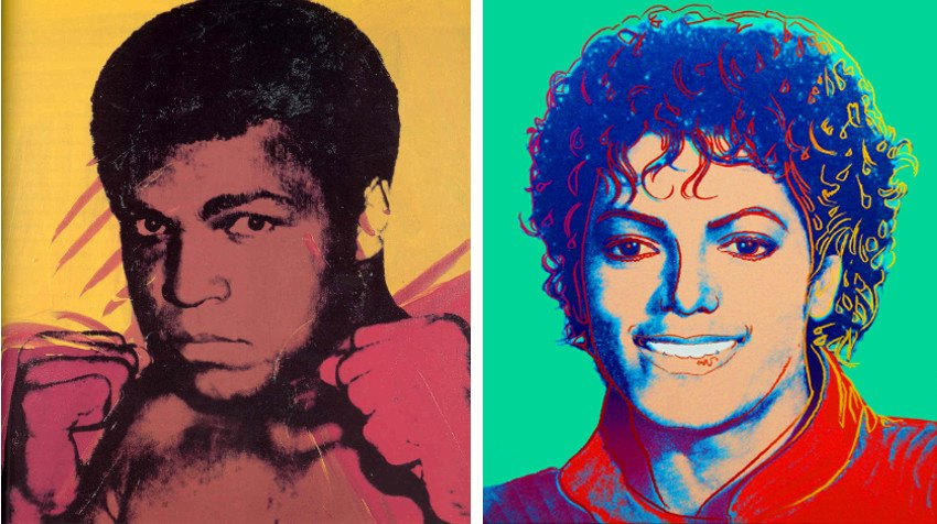 Andy-Warhol-Muhammad-Ali-1975-photo-via-wikiart-Left-Michael-Jackson-Green-1984-photo-via-listal-Right.jpg