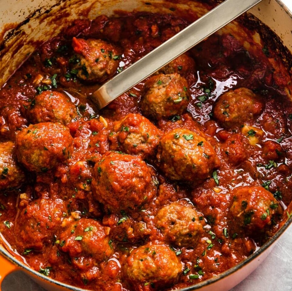 MEATBALLS & RED SAUCE  These pork meatballs are already cooked, you simply need to heat them through.  Place the meatballs and sauce into a sauce pan and heat over medium with a lid for 10-15 minutes or until warmed through.   You can also smash the meatballs into the sauce for a quick bolognese.