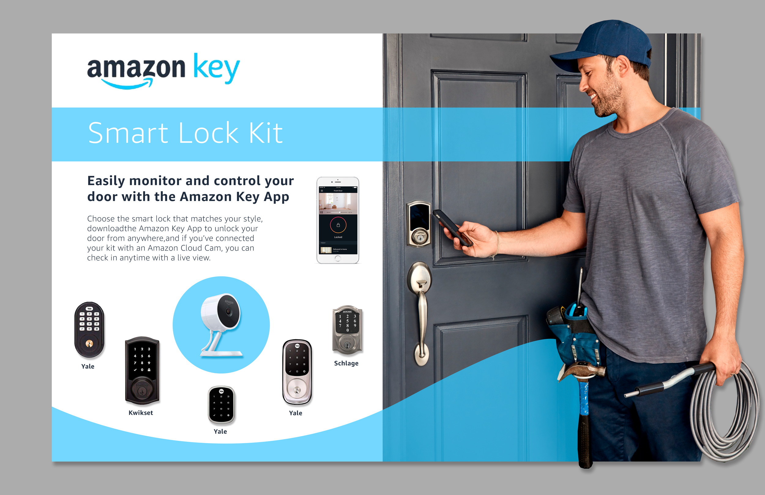 Initial design mock-up that I designed. This image was pitched to the Amazon Key team and secured the design opportunity for Dose.
