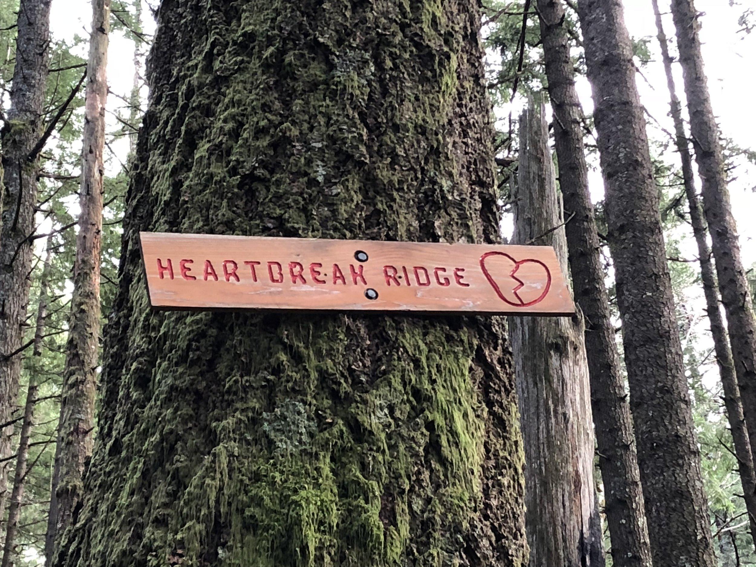 Sign marking the Heartbreak Ridge Trail.