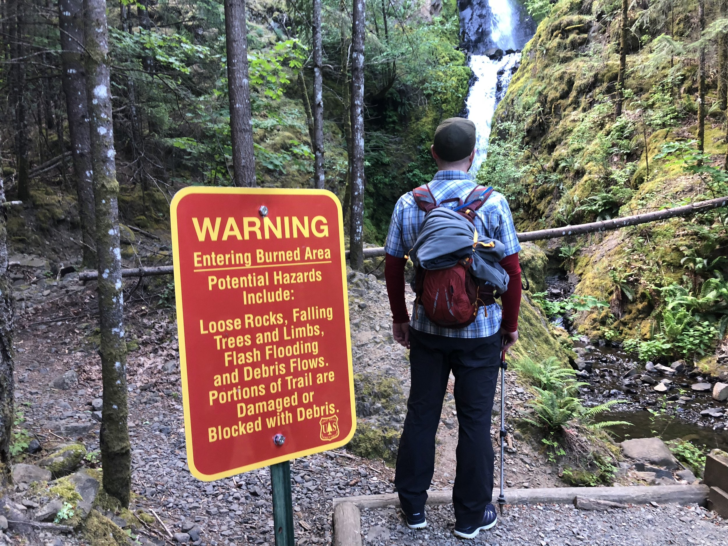 Sign warning about hazards left by the Eagle Creek Fire.