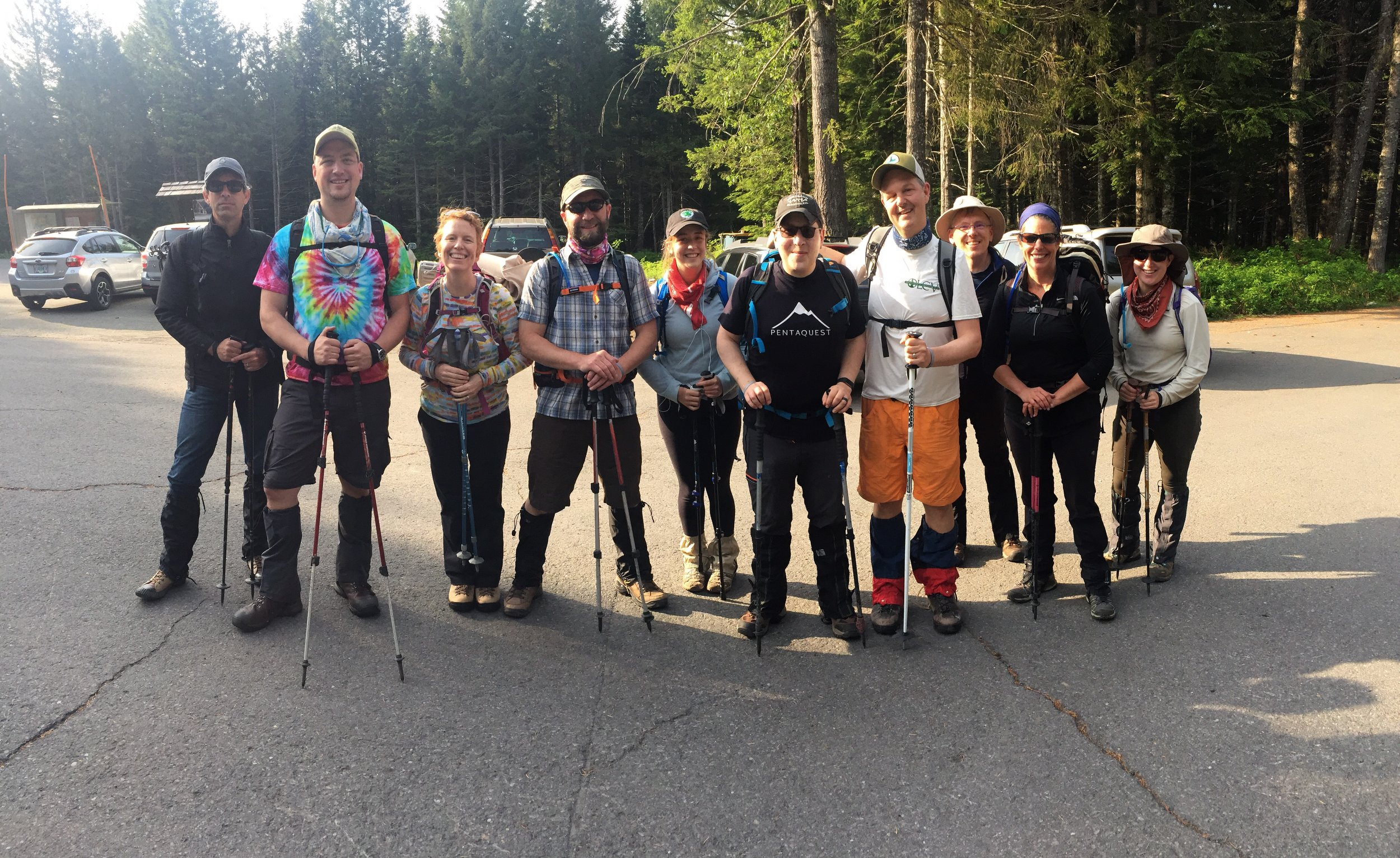The Pentaquest team at the Marble Mountain Sno Park trailhead.
