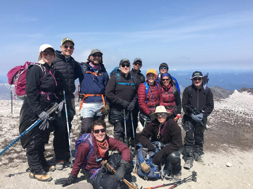 The team on the crater rim before glissading.