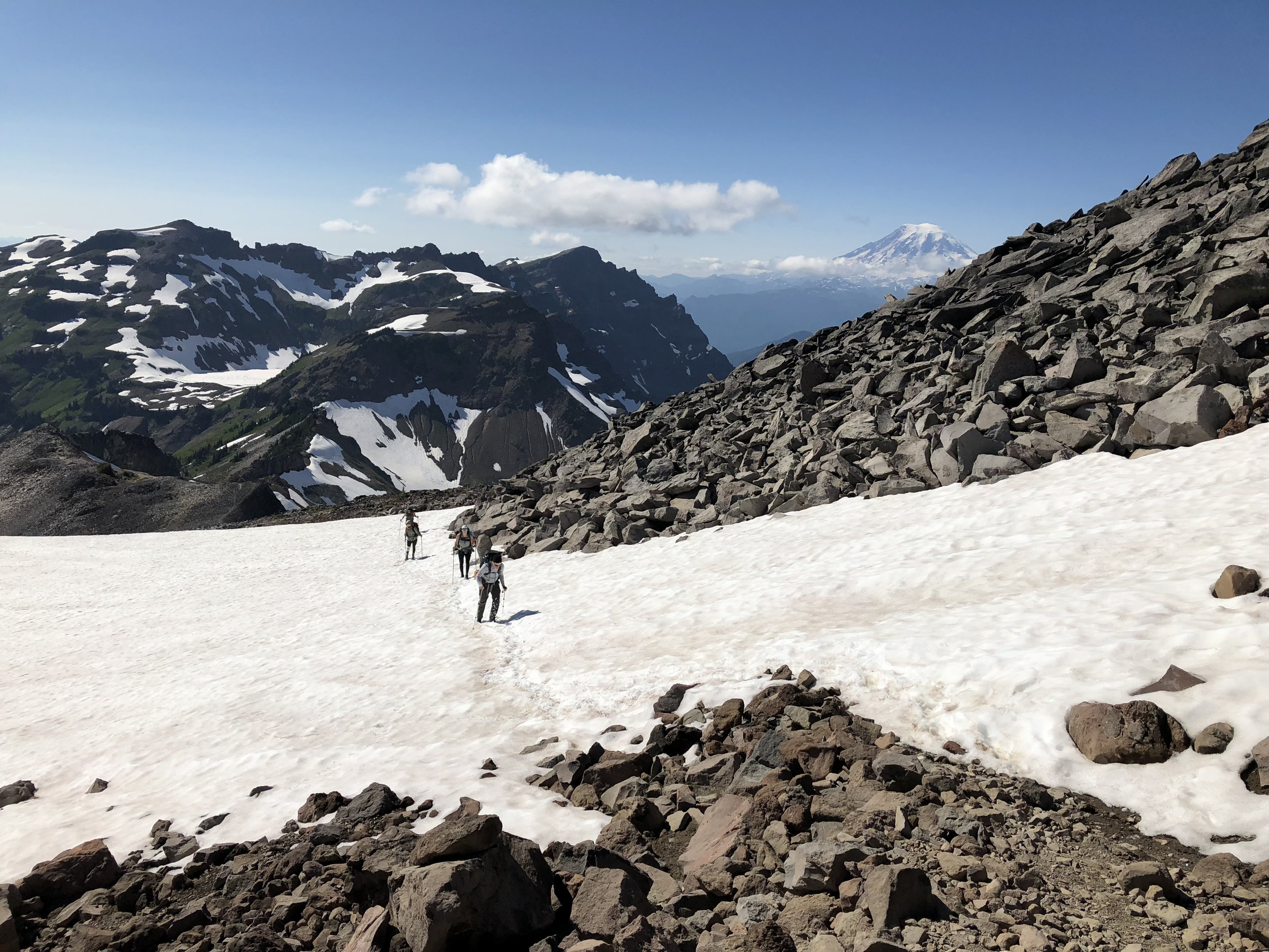 Nearing high camp with Mount Rainier in the distance.