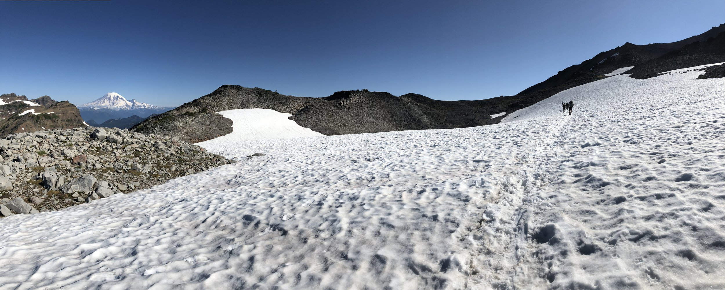 Crossing a snowfield with Mount Rainier in the distance.