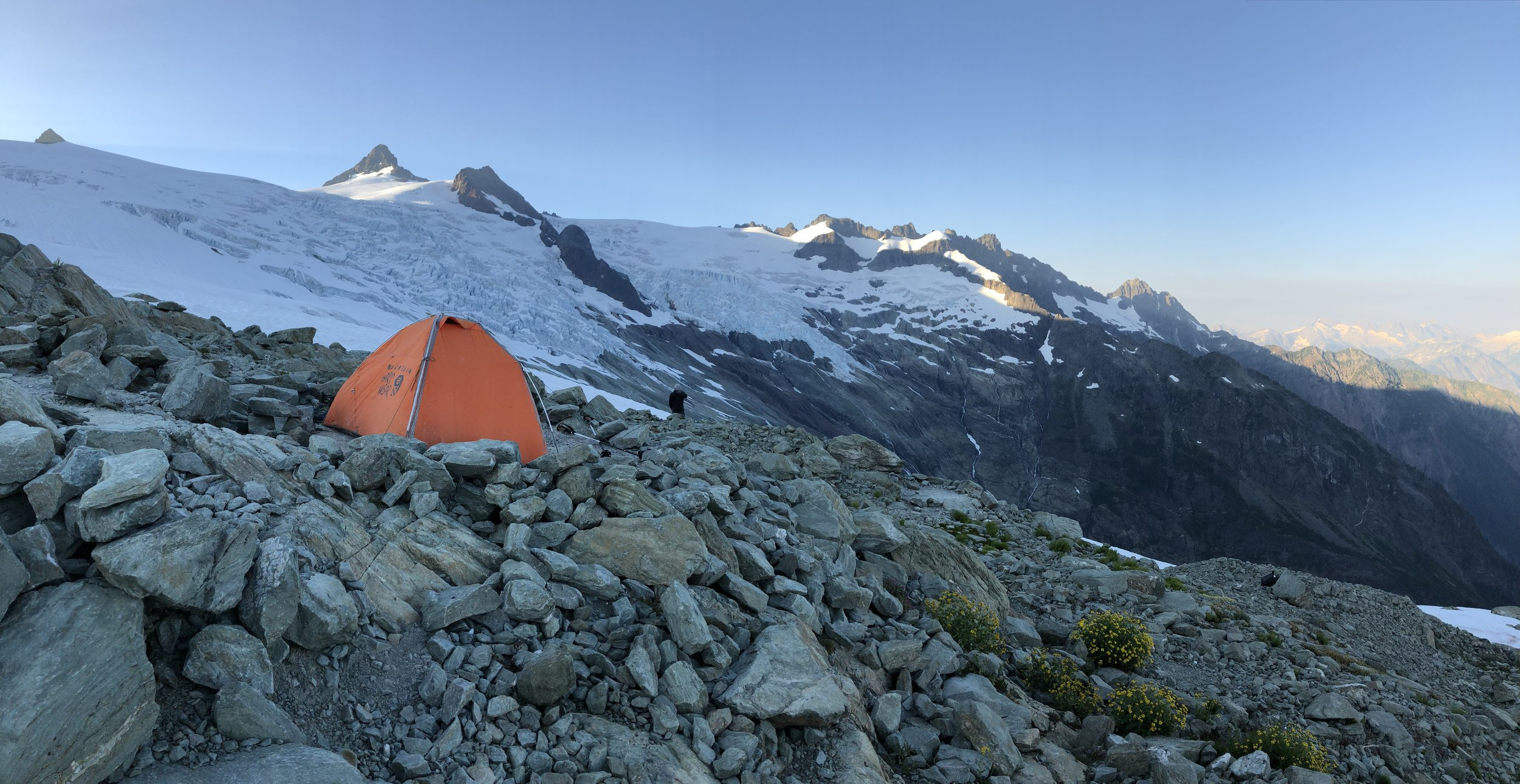 Mount Shuksan from high camp on the Sulphide Glacier.