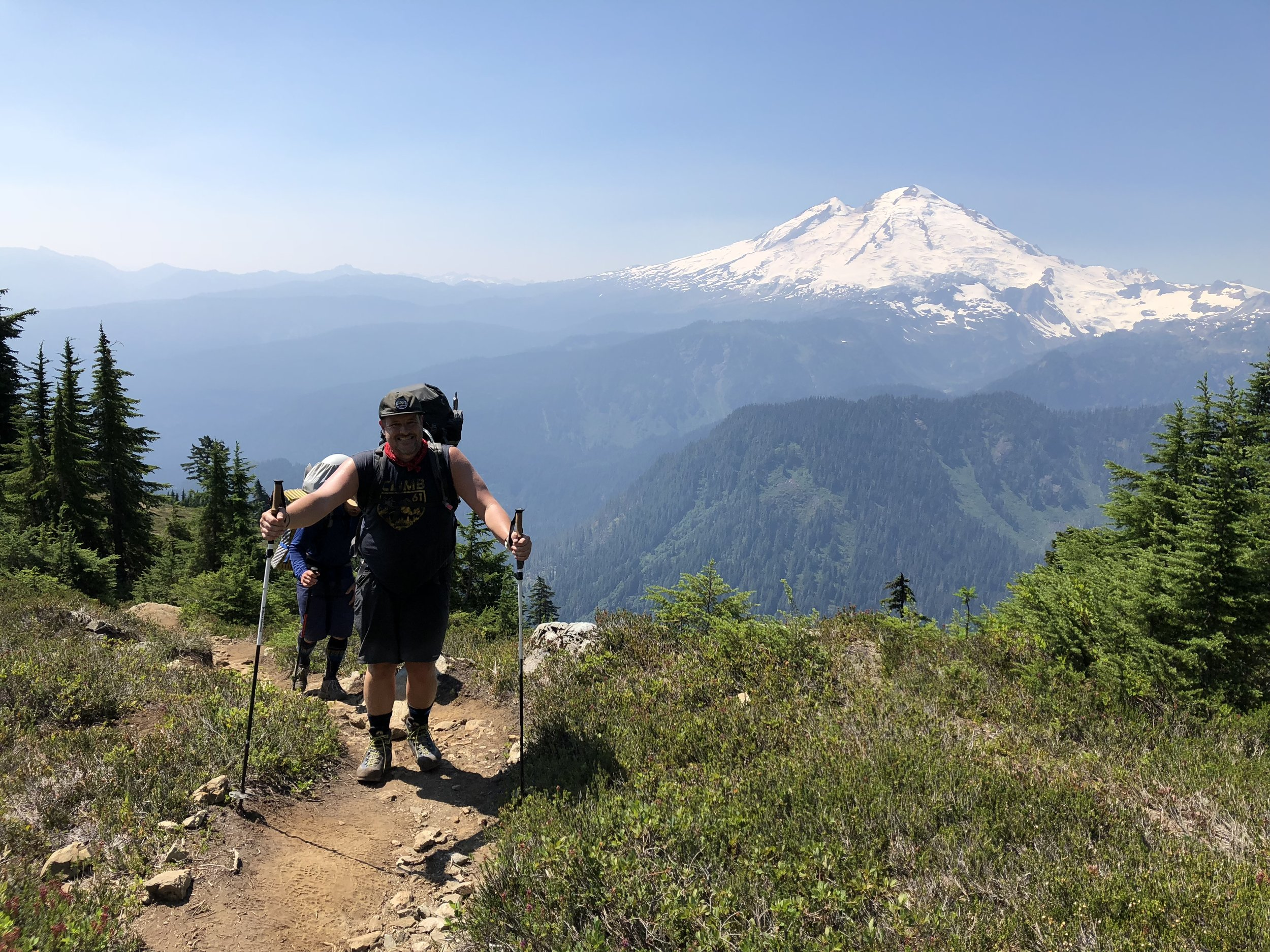 Our team with Mount Baker in the distance from Shannon Ridge.