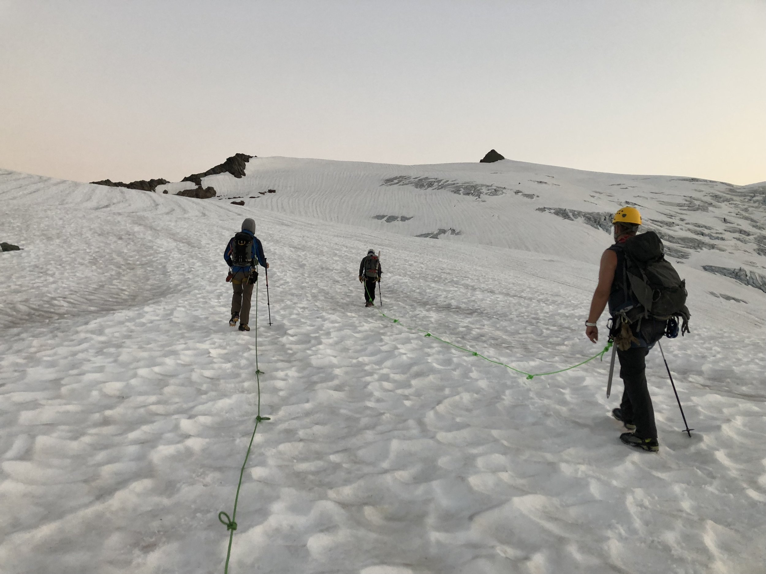 Our team leaving camp and heading up the Sulphide Glacier.