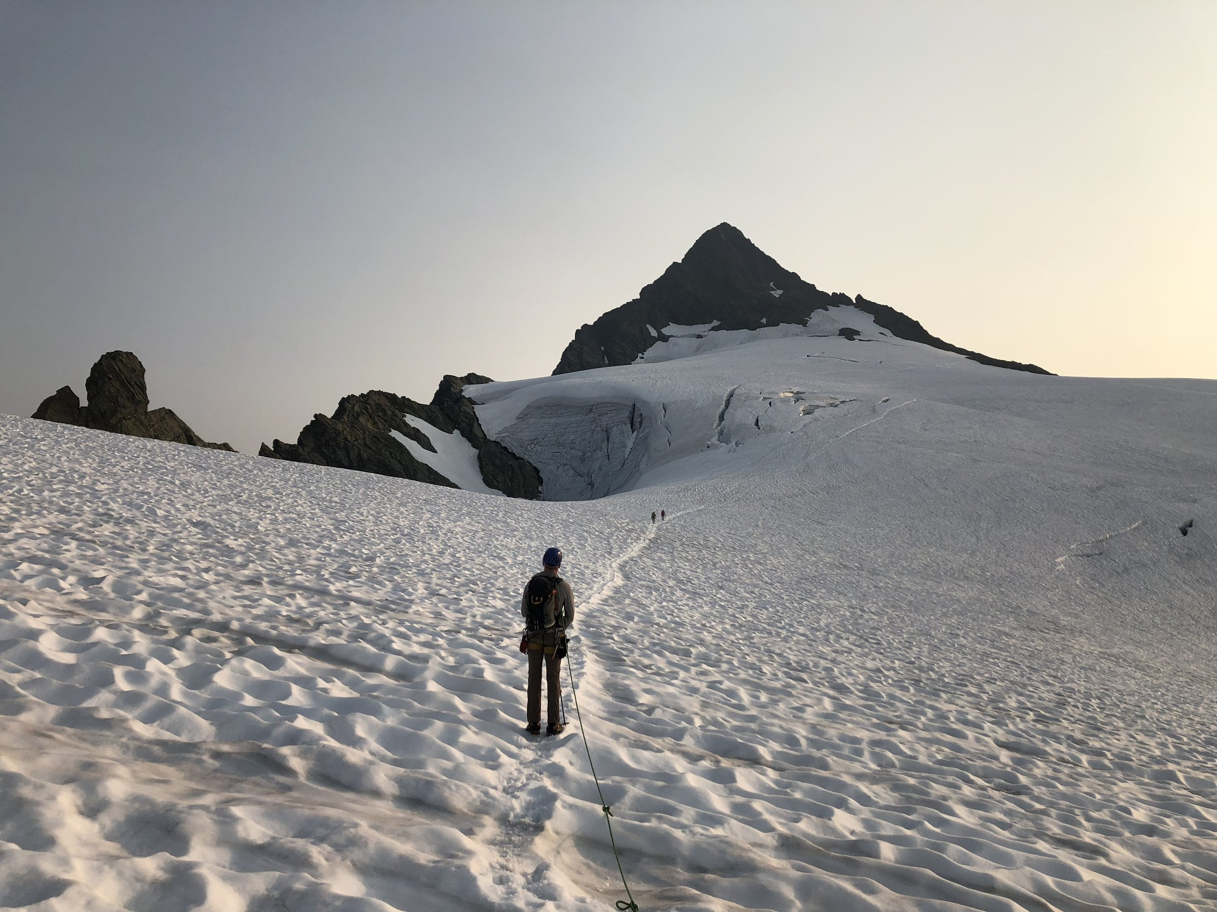 Approaching Shuksan's summit pyramid.