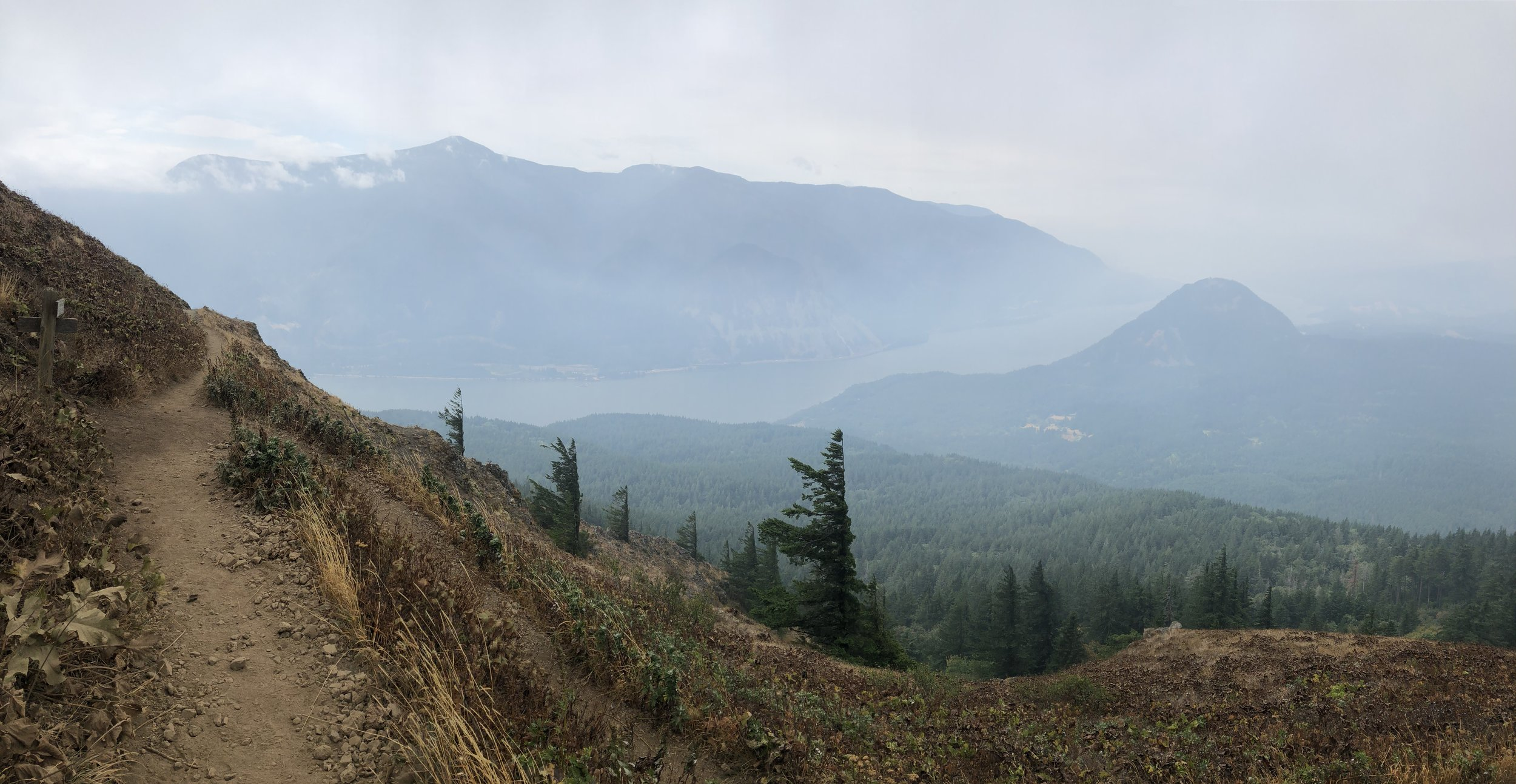 The haze starts to lift! Wind Mountain is on the right.