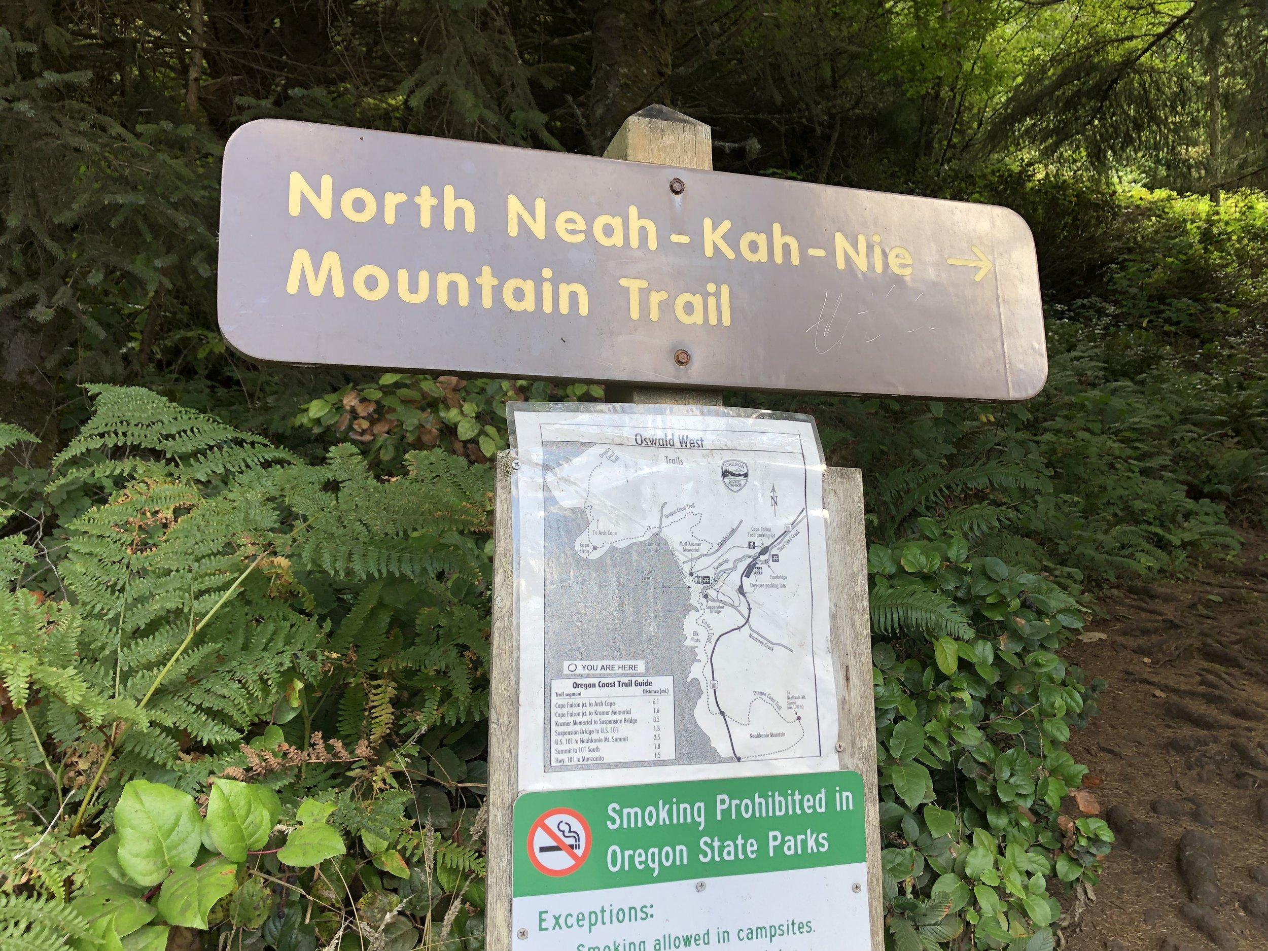 Sign at the Neahkahnie's north trailhead.