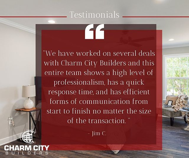 Take it from them ➡️ We love hearing from our great clients!  Contact us today we are ready to help! (410) 756-0010 |  info@charmcitybuilders.com #linkinbio