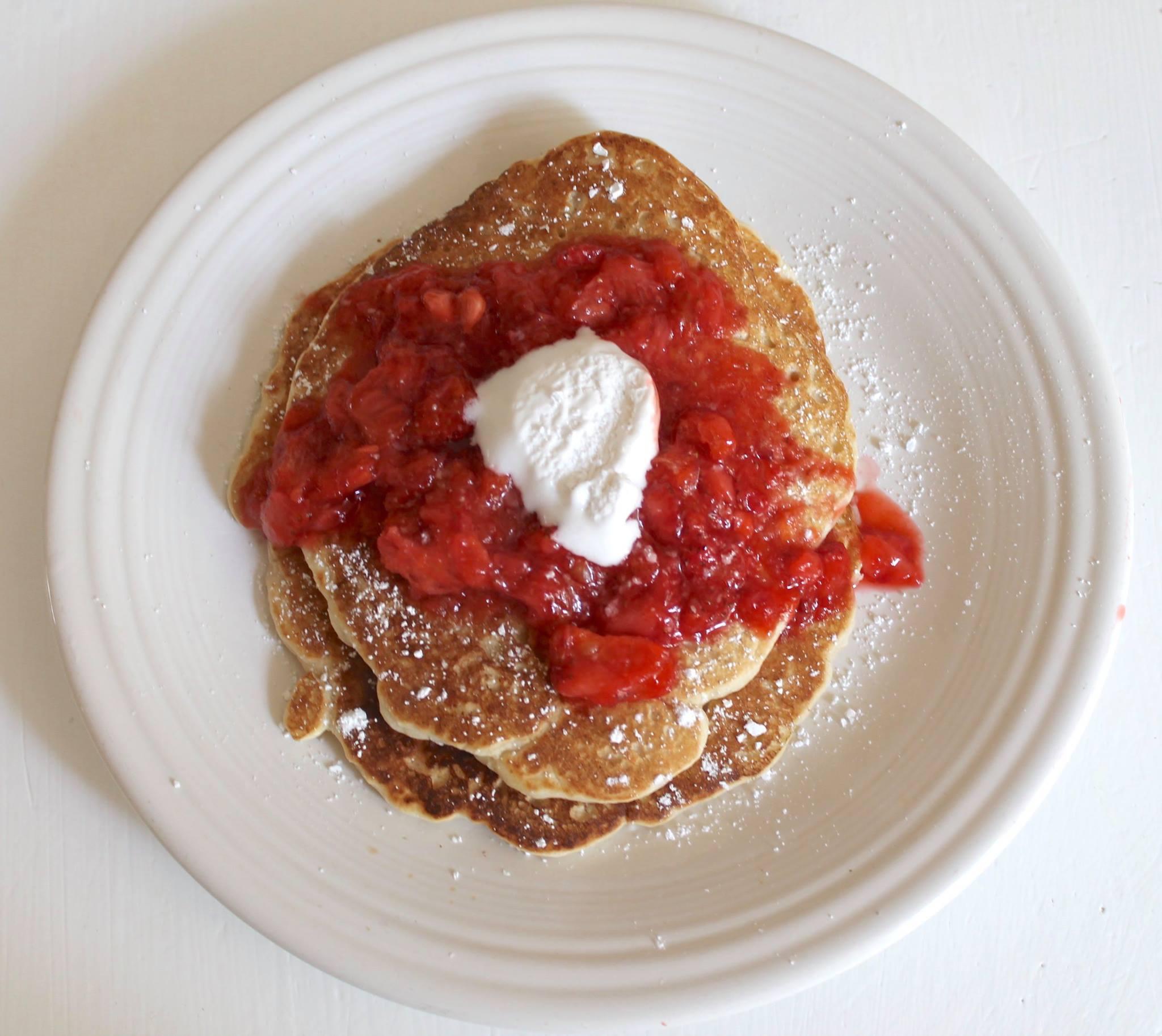 Blood Orange Strawberry Pancakes