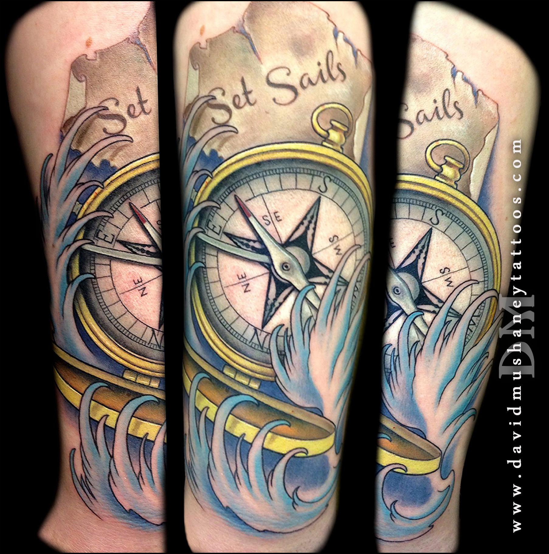 Custom Compass and Waves Tattoo by David Mushaney
