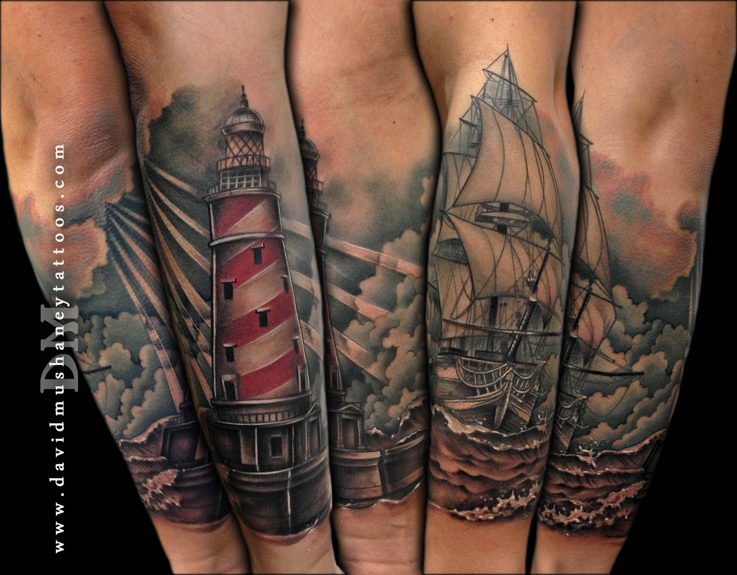 Ship and Lighthouse Half-sleeve Tattoo by David Mushaney