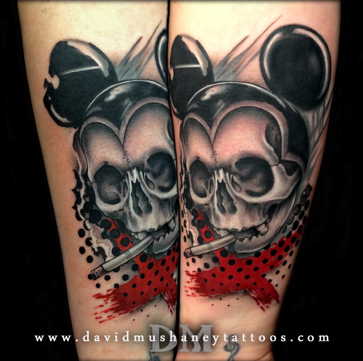Trash Polka Mickey Mouse Tattoo by David Mushaney