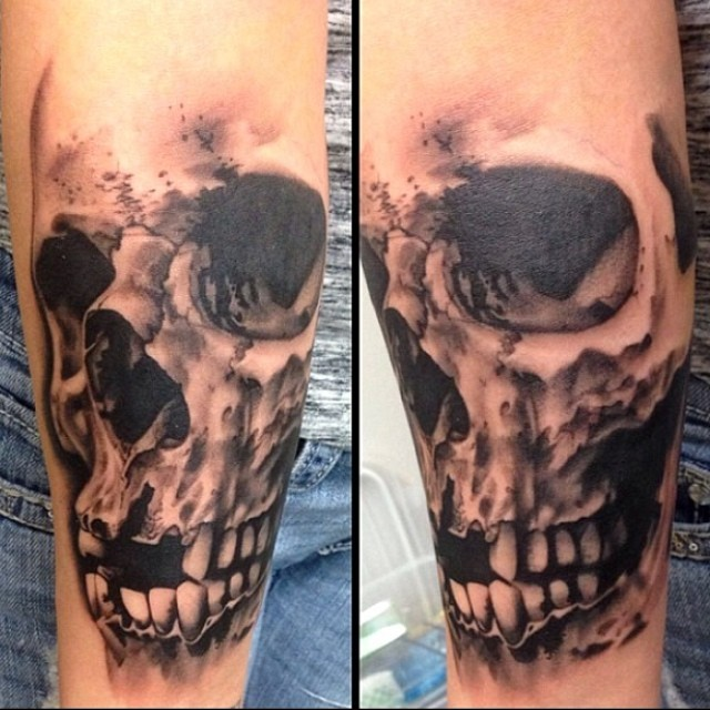 Black and Gray Realistic Skull Tattoo by David Mushaney