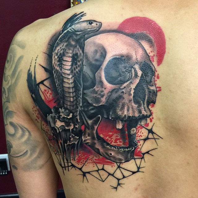 Skull and Snake Abstract Tattoo by David Mushaney